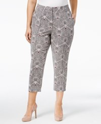 Melissa Mccarthy Seven7 Plus Size Geo Print Cropped Tailored Pants Cloud Grey