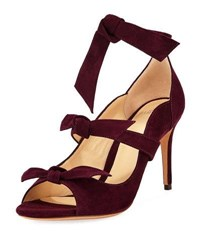 Alexandre Birman Charlotte Suede Three Strap Pump Wine Berry