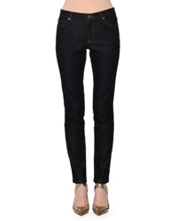 Valentino Rockstud Trim Skinny Jeans Navy Denim Medium Blue