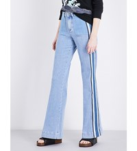 Victoria Beckham Contrast Stripe Flared High Rise Jeans Multi Denim Stripe