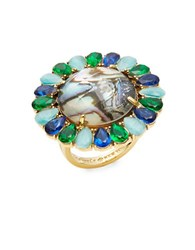 Kate Spade Peacock Way Teardrop Trimmed Stone Ring Green