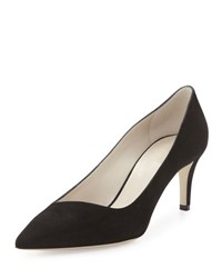 Giorgio Armani Asymmetric Point Toe Suede Pump Black