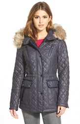 Women's Laundry By Shelli Segal Waxy Twill Quilted Jacket With Faux Fur Navy