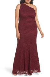 Decode 1.8 Plus Size Women's One Shoulder Glitter Lace Gown Merlot