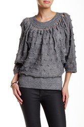 Chaudry Embellished Crop Sweater Gray