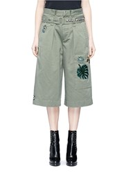Marc Jacobs Sequin Embroidered Patch Belted Cargo Shorts Green
