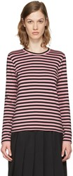Comme Des Garcons Girl Pink Striped Long Sleeve T Shirt