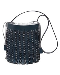 Paco Rabanne Grommet Studded Leather Bucket Bag Navy