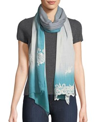 Bindya Ombre Lace Trim Scarf Blue