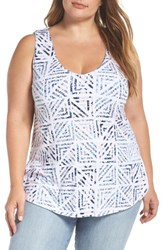 Tart Plus Size 'Ansley' Back Cutout Scoop Neck Top Water Geo