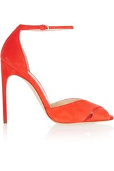 Brian Atwood Marissa Suede Sandals Bright Orange