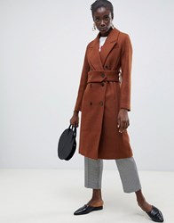 Selected Wool Double Breasted Midi Length Coat Brown