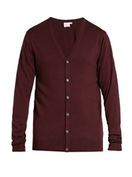 Sunspel V Neck Wool Cardigan Burgundy