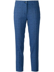 Etro Printed Skinny Trousers Blue