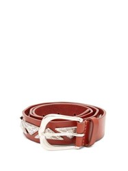 Isabel Marant Nyzo Metal Embellished Leather Belt Tan
