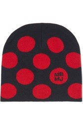 Marc By Marc Jacobs Charlie Polka Dot Intarsia Merino Wool Beanie Midnight Blue