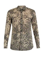 Saint Laurent Floral Print Cotton Batiste Shirt White Multi