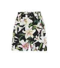Dolce And Gabbana Floral Cotton Poplin Shorts Multicoloured