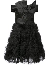 Marchesa Notte Off The Shoulder Ruffled Mini Dress Black