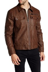 Kenneth Cole Faux Leather Jacket Brown