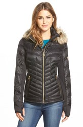 Women's Michael Michael Kors Faux Fur Trim Hood Embossed Mixed Media Down Jacket Black