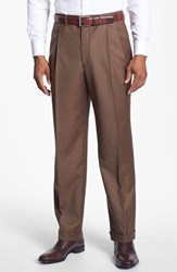 Men's Santorelli 'Luxury Serge' Double Pleated Wool Trousers Tobacco