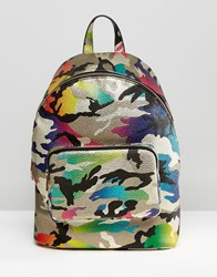 Asos Metallic Camo Backpack Multi