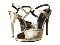 Just Cavalli Laminated Leather Open Toe Heels Gold High Heels
