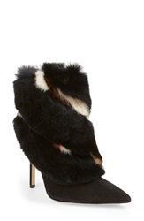 Paul Andrew 'Bowery' Ankle Boot With Genuine Rabbit Fur Cuff Women Black Grey Suede