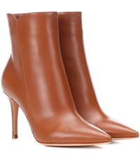 Gianvito Rossi Levy 85 Leather Ankle Boots Brown