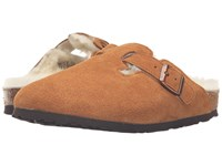 Birkenstock Boston Shearling Mink Suede Women's Clog Shoes Tan