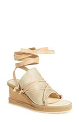 Women's Free People 'Bowery' Ankle Tie Wedge Sandal Dove Grey Leather