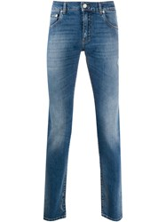 Dolce And Gabbana Printed Pocket Straight Leg Jeans Blue
