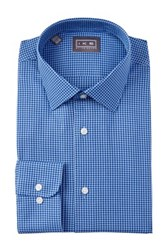 Ike Behar Oxford Gingham Full Fit Dress Shirt Blue