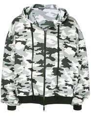 Unravel Project Military Printed Zipped Hoodie Grey