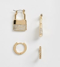 Accessorize Exclusive 4 Multipack Huggies And Padlock Earrings Set Gold
