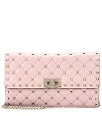 Valentino Rockstud Spike Small Leather Clutch Pink