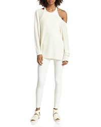 Halston Heritage Silk And Cashmere Slouchy Sweater Chalk
