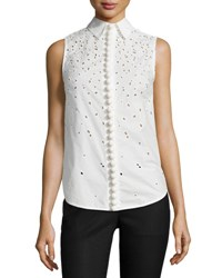 Proenza Schouler Sleeveless Embroidered Button Down Top White