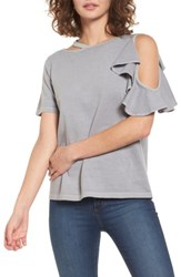 Women's Bp. Ruffle Cutout Tee Grey Cloudburst