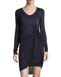 Muse Knotted Knit Jersey Dress Navy Black