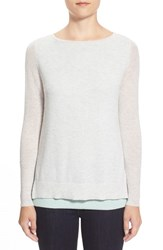 Petite Women's Halogen Double Layer Cashmere Sweater Heather Grey Aqua Colorblock