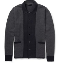 Alexander Mcqueen Woven Cotton And Cashmere Blend Cardigan Gray