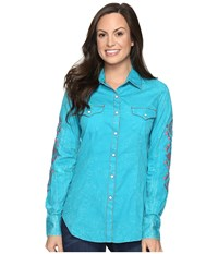 Rock And Roll Cowgirl Long Sleeve Snap B4s8366 Teal Women's Clothing Blue
