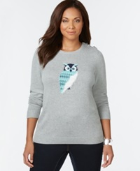 Charter Club Plus Size Owl Graphic Sweater Only At Macy's Heather Platinum Combo