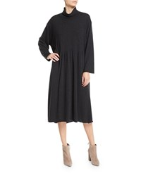 Eskandar Scrunch Neck Long Sleeve A Line Cashmere Dress Charcoal