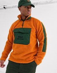 Helly Hansen Yu 1 2 Zip Borg Fleece In Orange Khaki