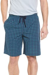 Nordstrom Men's Shop Poplin Lounge Shorts Navy Peacoat Teal Plaid