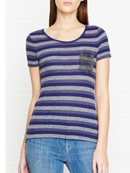 Karen Millen Striped Stud T Shirt Blue