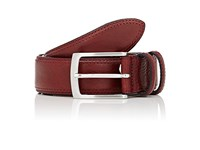 Barneys New York Men's Leather Belt Burgundy